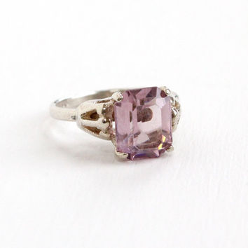 Vintage Sterling Silver Simulated Amethyst Ring - Retro Hallmarked Sarah Coventry Adjustable Purple Glass Stone February Birthstone Jewelry