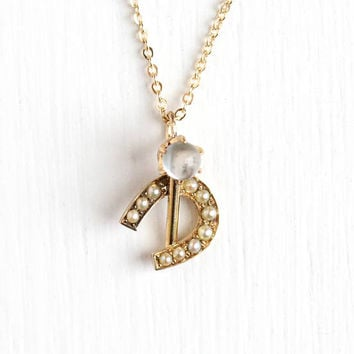 Antique 14k Rosy Yellow Gold Moonstone & Seed Pearl Horseshoe Pendant Necklace - Vintage Edwardian Stick Pin Conversion Dainty Fine Jewelry