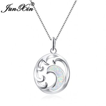 Wave Moon Necklace For Women Stylish 925 Sterling Silver Filled  Blue White Fire Opal  Pendants