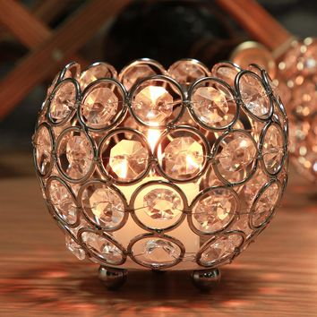 Glittering Gold Candle Holders Centerpieces Decor Crystal Candle