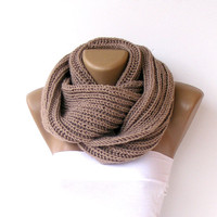 Hand made knitted infinity scarf Block Infinity Scarf,Neck Warmer.LONG scarf,camel Crochet Infinity,valentines day