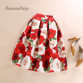 BunniesFairy 2016 New Female Sweet Romantic Rose Flower Floral Print High Waist Pleated Midi Skirt Flared Tutu Skater Skirt Saia