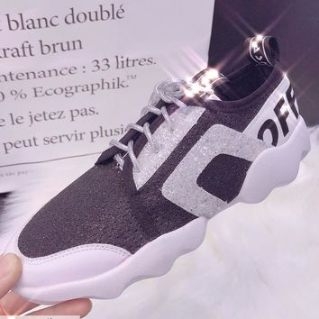 OFF-White Sequins Women Casual Fashion Sneakers Sport Shoes