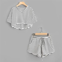 Summer Twopiece for Women Dip Tee With Drawstring Shorts Striped Drawstring Stretchy