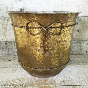 Brass Planter Large Brass Container Large Brass Plant Pot Garden Container Hollywood Regency Decor Outdoor Planter Mid Century Planter