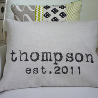 Personalized Pillow Cover Custom Wedding Gift and Family Name Modern Design As Seen on The Huffington Post- Pillow Insert Not Included