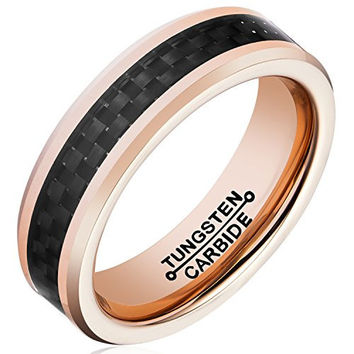 6mm Tungsten Carbide Rings Rose Gold Plated Black Carbon Fiber Inlay Wedding Band (14k, 18k Rose Gold)