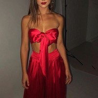Meesha Strapless Front-Bow Jumpsuit