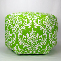 "24"" Floor Ottoman Pouf Pillow Chartreuse Green & White - Damask Contemporary Modern Print"