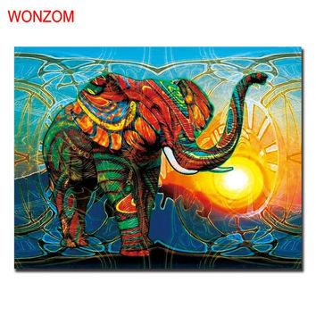 1Pc African Elephant Canvas Painting Abstract Cuadros Decoracion Unframed Wall Picture For Home Decoration 2017 Wall Art Poster