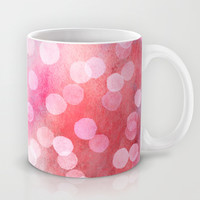 Strawberry Sunday - Pink Abstract Watercolor Dots Mug by Micklyn