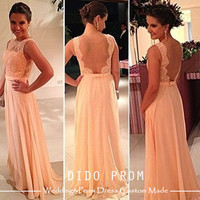 Custom Made Peach Lace Prom Dress,Open Back Prom Dress,Backless Chiffon Prom Dress,Lace Bridesmaid Dress
