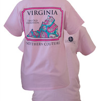 Southern Couture Virginia Preppy Paisley State Pattern Old Dominion State Girlie Bright T Shirt