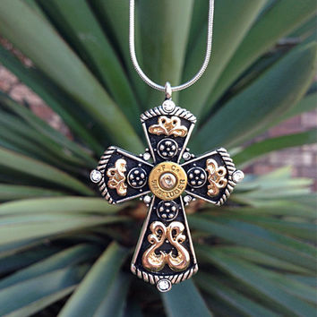 Bullet jewelry. Western cross necklace with bullet casing