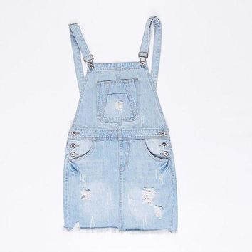 CREYCI7 Suspender School Girl Summer Denim Sundress Sexy Mini Pencil Denim Skirt Suspenders Women Jeans Overalls Girl Skirt S-XL