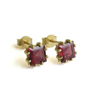 Square Garnet Earrings - 14k Gold Studs - Red Gemstone Earrings - Solid Gold Jewelry
