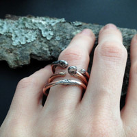 Copper Stacking Rings - Organic Unique Rings - Trio Of Rings - Nature Lover - Woodland - Gift for Her - Gift for Woman - SIZE 8