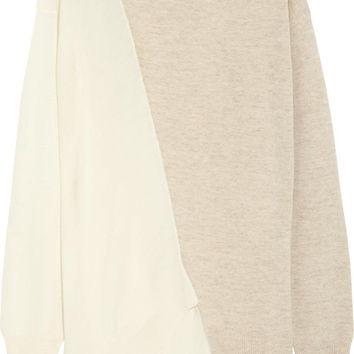 Stella McCartney Ivory + Beige Asymmetric Panel Sweater / Sz 38