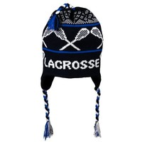 LACROSSE Fleece Lined Knit Winter Hat Black/Blue