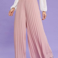 Zip Back Pleated Wide Leg Pants
