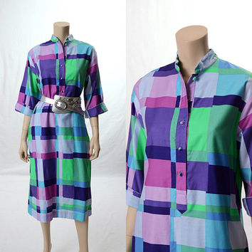 Vintage 60s 70s Catherine Ogust Color Block Mod Dress 1960s 1970s Geometric Mad Men Penthouse Gallery Oqust Easter Dress size 10
