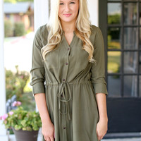 Just in Time Dress - Olive Green