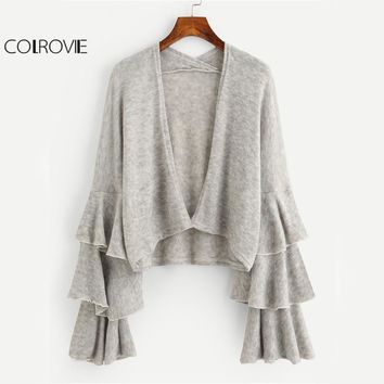 COLROVIE Tiered Frill Sleeve Grey Cardigan Women Open Front Ruffle Knit Sweater Fall 2017 Fashion Loose Casual Stretchy Sweater