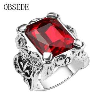 OBSEDE Fashion Big Red Blue Stone Signet Ring for Men Vintage Cubic Zirconia Male Jewelry Unique Punk Party Gift Wedding Ring