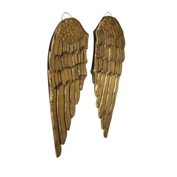 Painted Wooden Angel Wings (Set of 2)