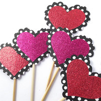 Polka Dot Glitter Heart Cupcake Toppers - 12 Black, White, Pink, Red Valentine's Toppers - Valentine's Day // Birthday Party