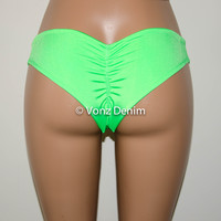Neon Green Scrunch Bikini Bottom, Cheeky Hips Bikini Bottom, Brazilian Bikini Bottoms, Fully Lined Scrunch Butt Bikini Swimsuit