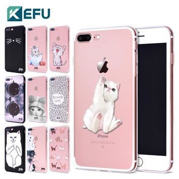 KEFU 2017 new arrivals for funda iPhone 6S case 5 5S 6 6S 7 8 Plus X Cute Cats thin soft silicone TPU cover for iPhone 7 case