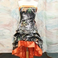 2017 Hot Sale Bandage High Low Orange Camo Prom Camouflage Bridesmaids Dresses Plus Size Maid of Honor Dress Wedding Party Gowns