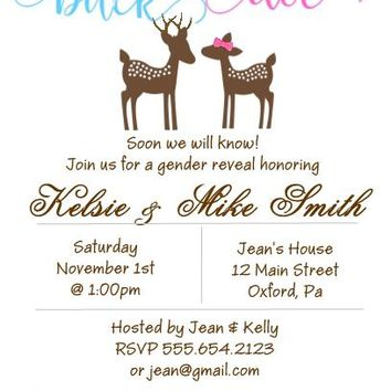 10 Buck or Doe Gender Reveal Baby Shower Invitations