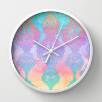 The Ups and Downs of Rainbow Doodles Wall Clock by Micklyn
