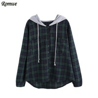 ROMWE Sweatshirt Pullover Women Hoodies Sweatshirts Autumn Ladies Plaid Button Pocket Sweatshirt With Contrast Hood