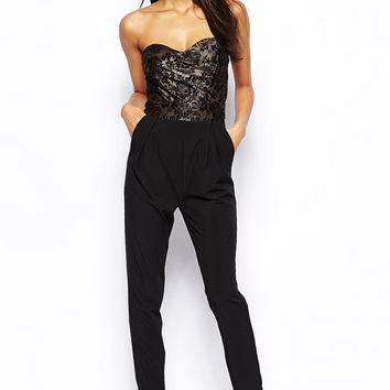 Black Jumpsuit with Strapless Lace Top