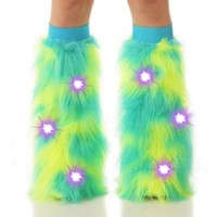 Meissa Yellow and Turquoise Light Up LED Fluffies : Camo Pattern Fluffy Legwarmers from Indyglo