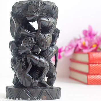 African Wooden Statue, Sculpture / Figurine: African Art Vintage Hand Carved Wood Sculpture Statue of Children