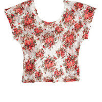 Lace Print Single Bow Back Tee
