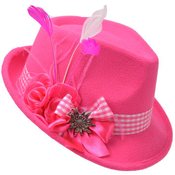 Ladies Pink Hat with Edelweiss Pin and Feathers