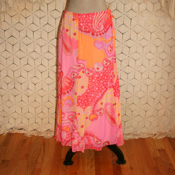 Orange Tangerine Hot Pink Paisley Skirt Chiffon Hippie Boho Maxi Skirt Spring Skirt Summer Skirt Banana Republic Small Medium Women Clothing