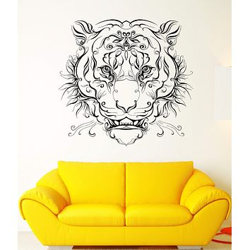 Wall Vinyl Sticker Tiger Roar Grin Predator Wild Cat Pattern Art Decor Unique Gift (ed407)