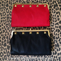 Studded Clutch Wallet - Black or Red Faux Leather - Gold Studs
