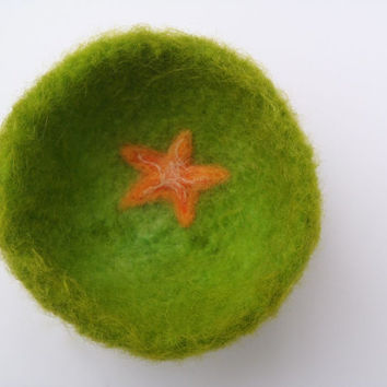 Felted Bowl Starfish / Decorative bowl / Green wool bowl