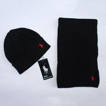 Polo Women Men Winter Knit Hat Cap Scarf Set Two-Piece