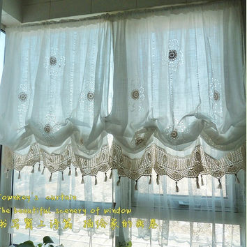 White Lace Crochet Balloon Shade Austrian Pull Up Adjustable Sheer Cafe Kitchen Curtain French Country Cottage Provincial Vintage