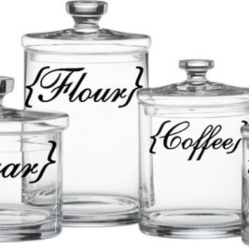 Kitchen Canister Labels Flour Sugar Coffee Rice Vinyl Decal Set