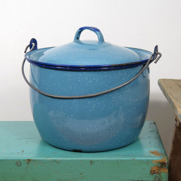 Vintage Chippy Enamelware Pot with Lid . Light Blue with White Speckles and Cobalt Rim . Circa 1930s . Great For Display, Storage or Planter