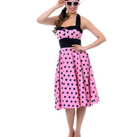 Hell Bunny Pink & Black Polka Dot Halter Adelaide Dress - Unique Vintage - Prom dresses, retro dresses, retro swimsuits.
